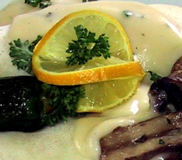 ... Asparagus Crepes With Grilled Portabella Mushrooms & White Wine Sauce